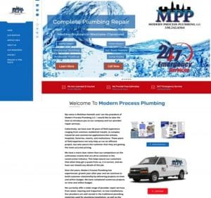 modern process plumbing flutterworks website design